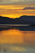 Sunset Reflecting In Water Prints - Kamloops Lake BC Print by Wendy Elliott