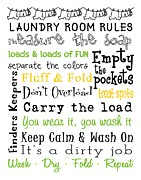 Subway Art Art - Laundry Room Rules Poster by Jaime Friedman