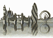 Tourism Mixed Media - London skyline by Michal Boubin