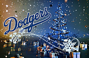 Christmas Greeting Photo Framed Prints - Los Angeles Dodgers Framed Print by Joe Hamilton