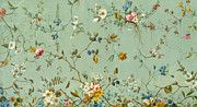 Blue Flowers Tapestries - Textiles Posters - Marble end paper Poster by William Kilburn
