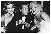 Lauren Bacall Framed Prints - Marilyn Monroe Lauren Bacall Humphrey Bogart How To Marry A Millionaire Premiere November 4 1953 Framed Print by Douglas MooreZart
