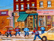 Streets In Winter Framed Prints - Montreal Paintings Framed Print by Carole Spandau