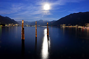 Sea Moon Full Moon Photo Posters - Moon light over an alpine lake Poster by Mats Silvan