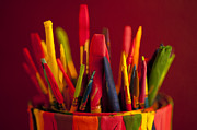 Drawers Prints - Multi colored paint brushes Print by Jim Corwin