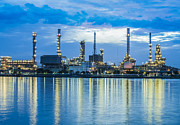 Pollute Framed Prints - Oil Refinery Plant  Framed Print by Anek Suwannaphoom