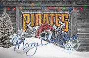Christmas Doors Framed Prints - Pittsburgh Pirates Framed Print by Joe Hamilton