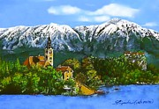 Charming Town Paintings - Remembering Bled by Linda Simon