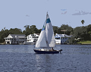 Riverfront Park Digital Art Prints - Sailing at Ballard Park on the Eau Gallie River in Melbourne Flo Print by Allan  Hughes