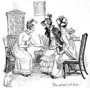 News Drawings - Scene from Pride and Prejudice by Jane Austen by Hugh Thomson