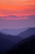 Peaceful Metal Prints - Smoky Mountain Sunset Metal Print by Andrew Soundarajan