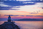 New England Art - Sunrise at Spring Point Lighthouse by Diane Diederich