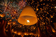 Sky Fire Prints - Thai people floating lamp Print by Anek Suwannaphoom