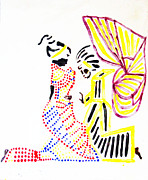 Ugandan Ceramicist Ceramics Prints - The Annunciation Print by Gloria Ssali