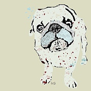 Canine Posters Mixed Media - The Pug  by Brian Buckley