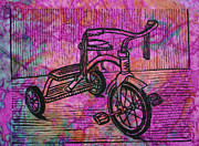 Linocut Prints - Tricycle Print by William Cauthern