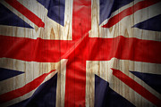 Painted Wood Prints - Union Jack  Print by Les Cunliffe