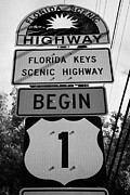 Mile Marker Framed Prints - Us Route 1 Mile Marker 0 Start Of The Highway Key West Florida Usa Framed Print by Joe Fox