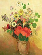 Tasteful Art Posters - Vase of Flowers Poster by Odilon Redon