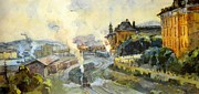 Winter Scenes Mixed Media Metal Prints - Vladivostok Vintage Prints Metal Print by Jake Hartz