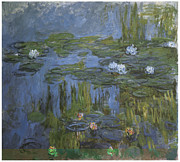 White Waterlily Paintings - Water-Lilies by Claude Monet