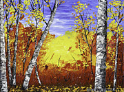 Handmade Trunk Posters - White Birch Tree Abstract Painting In Autumn Poster by Keith Webber Jr