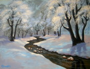 Serenity Scenes Paintings - Winter 06 by Shasta Eone