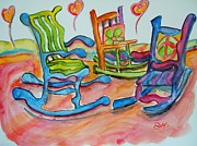 Rocking Chairs Framed Prints - 60s Rockin Framed Print by Elaine Duras
