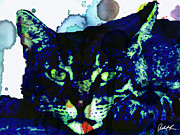 60x45 Blue Cat Blues - - Huge Signed Art Abstract Paintings Modern Www.splashyartist.com Print by Robert R Abstract Art