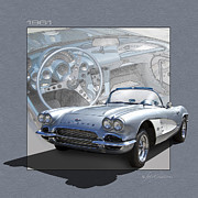 Autoart Prints - 61 Corvette in Silver Blue Print by Roger Beltz