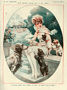 Puppies Drawings Posters - 1920s France La Vie Parisienne Magazine Poster by The Advertising Archives