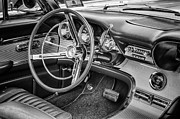 Radio Print Prints - 62 Thunderbird Interior B and W Print by Jerry Fornarotto