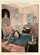 Woman Relaxing Framed Prints - 1920s France La Vie Parisienne Magazine Framed Print by The Advertising Archives