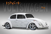 Custom Automobile Digital Art Posters - 64 Volkswagen Beetle Poster by Mike McGlothlen