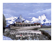 Cruising Paintings - 65 foot Classic fantail Yacht in Alaska by Jack Pumphrey