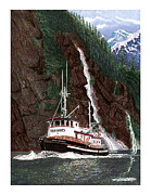 Cruising Paintings - 65 foot Tug Boat Red Wing by Jack Pumphrey