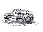 Mustang Drawings Posters - 66 Shelby 350 GT Poster by David Lloyd Glover