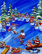 Pond Hockey Paintings - 67s - The Wave by Jill Alexander