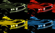 Yellow Cobra Prints - 69 Mach 1 Mustang Pop Print by Gordon Dean II