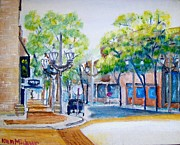 Wisconsin Landscape  Painting Originals - 6th Ave Street Sunday  by Kenneth Michur