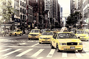 6th Avenue Nyc Yellow Cabs Print by Melanie Viola