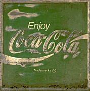 Closeup Coke Sign Prints -  Coca Cola Sign Grungy Retro Style Print by John Stephens