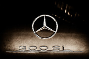 Mercedes Benz 300 Sl Classic Car Photos - 1955 Mercedes-Benz Gullwing 300 SL Emblem by Jill Reger