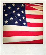 Closeup Photo Prints - American flag Print by Les Cunliffe