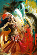 Colour Painting Framed Prints - Belly Dancer Framed Print by Corporate Art Task Force