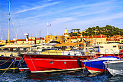 Row Boat Prints - Boats at St.Tropez Print by Elena Elisseeva