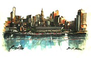 City Skylines Greeting Cards Posters - Boston Skyline Poster by Diane Strain