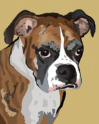Boxer Puppy Digital Art Metal Prints - Boxer Dog Portrait Metal Print by Robyn Saunders