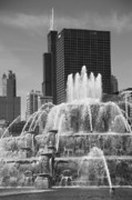 Chicago Prints Framed Prints - Chicago Skyline and Buckingham Fountain Framed Print by Frank Romeo