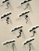 Rain Drawings Prints - Design from Nouvelles Compositions Decoratives Print by Serge Gladky